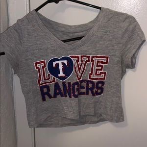 gray rangers crop top